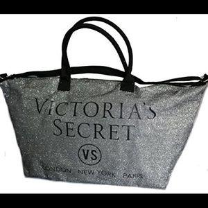 Victoria's Secret glitter silver weekender bag